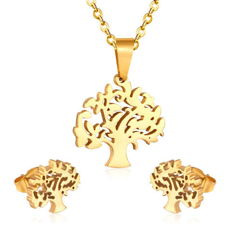 Prosperity Tree Necklace, Earrings, Gold / Silver Color Jewelry Set