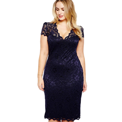 Women Flower Crochet Lace Dress Plus Size Tight Slim Blue Sexy Sheath Club Evening Party Dress