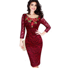 Women Dress Autumn Elegant Embroidery Lace for Party, Evening, Special Occasion, Sheath Dress
