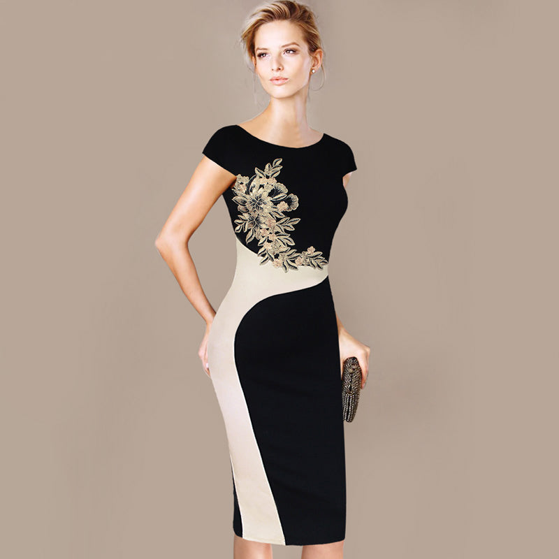 Womens Dress Elegant Vintage Embroidered Contrast Casual, Work, Party, Pencil Sheath Embroidery Dress