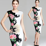 Womens Dress Elegant Vintage Flower Floral Printed Contrast Casual, Party Sheath Dress