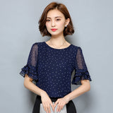 S-XXXXXL Women Blouse 2017 Short Sleeve Chiffon Blouse with Polka Dots Plus size Women Tops