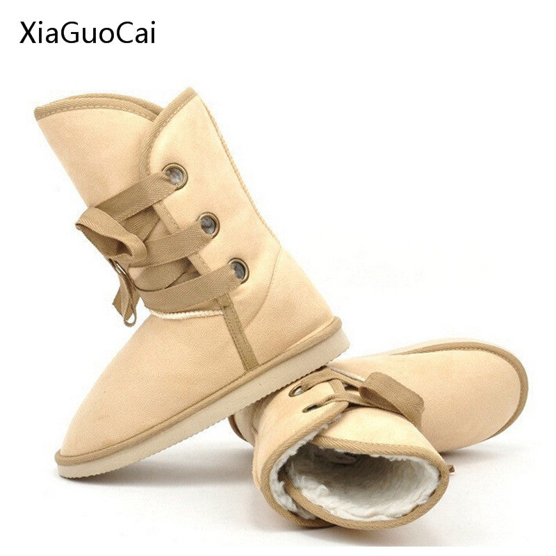Warm Beige Women Winter Boots Lace-up Ankle Boots Fur Waterproof Snow Boots for Women