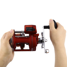 Left / Right hand 12 Bearings Fishing Reel with Electric Depth Counting Meter with strong body cast drum wheel.