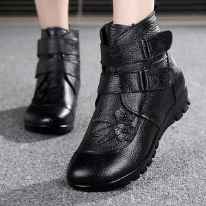 Winter Shoes Women Flats Ankle Boots Woman Fashion Genuine Leather Wedges Boots. Casual Non-slip Warm Snow Boots
