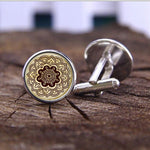 vintage mandala flower glass cufflink Jewelry henna tattoo High Quality Cufflinks jewelry