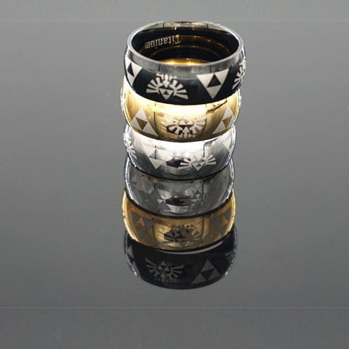 Fashion Ring, Triforce Zelda Logo Ring, Triforce Black Metal Classic Ring 3 Colors.