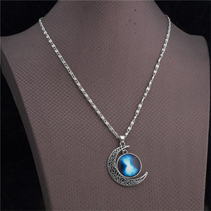 Vintage Star Moonstone Necklace Pendant Long Chain