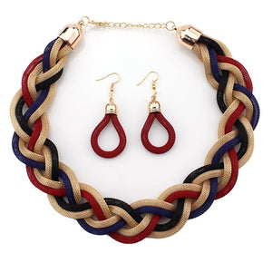 Designer Jewelry Sets 5 different Colors. Weave Twist Chain Necklace, Earrings Set.