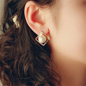 Gold Plated,  Golden Square & Pearl Earrings