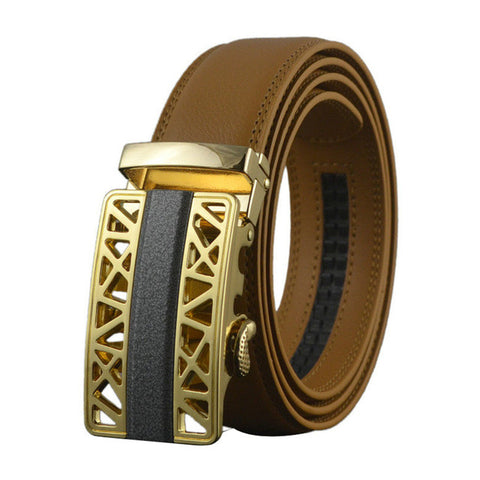 Genuine Leather Belt. Automatic Buckle Cinturones hombre original brand.