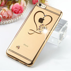 Romantic Crystal Heart Cases For iPhone 7 / 6 / 6S / Plus.