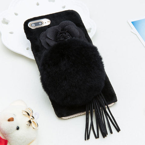Warm Fuzzy Phone Cases For iphone 7, 7 Plus, Rabbit Fur Ball with Flower Floral Tassel.