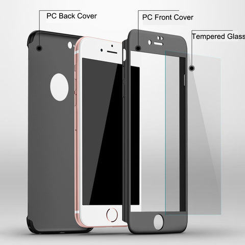 Luxury 360 Protection Cases for iPhone 7, 6, 6s, Plus, Hard PC Cover FREE Screen Film.