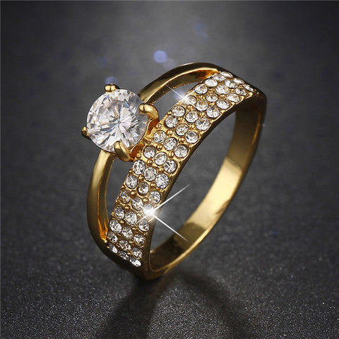 Gold Color Shinning Crystal CZ Zircon, 2017 New Wedding Ring.