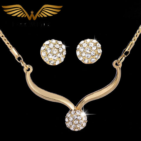 Gold Plated Jewelry Set with Stud Earrings, Necklaces For Ladies.