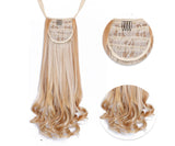 Long Wavy Ponytail Wig. Hairpiece Extension synthetic clips in hair.