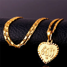 Jewelry Set For Women Fashion Heart Shaped Allah Earrings Necklace Set S736