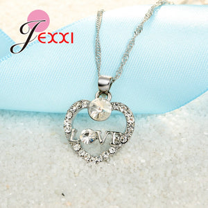Romantic Jewelry Sets For Women Heart Shape CZ Pendant Necklace with Dangle Earrings Set.