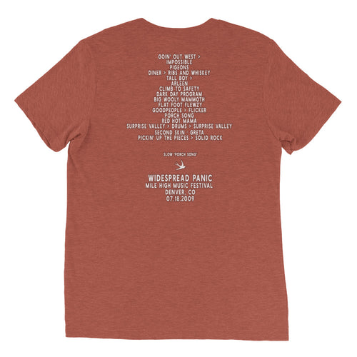 Widespread Panic Mile High Music Festival, 07/18/2009, Denver CO, Men's Setlist T-shirt