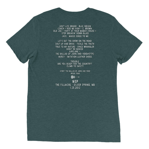 Widespread Panic Wood Tour, 01/25/2012, Silver Springs MD, Men's Setlist T-shirt