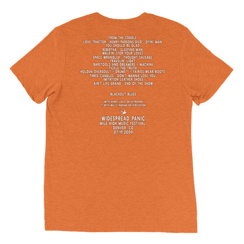 Widespread Panic Mile High Music Festival, 07/19/2009, Denver CO, Men's Setlist T-shirt