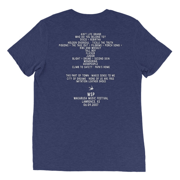 Widespread Panic Wakarusa Festival, 06/09/2007, Lawrence KS, Men's Setlist T-shirt