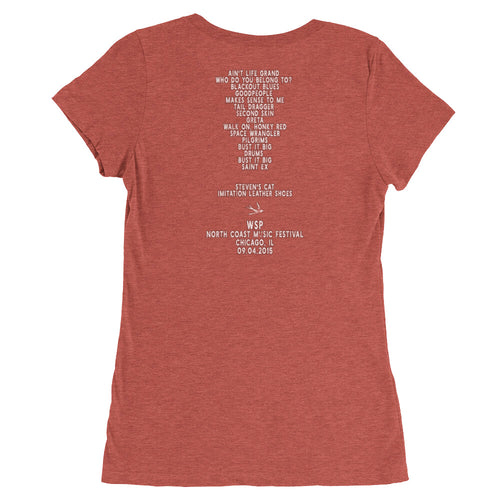 Widespread Panic North Coast Music Festival, 09/04/2015, Chicago IL, Women's Setlist T-shirt