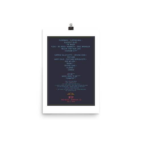 Widespread Panic Red Rocks, 06/27/1999, Setlist Poster