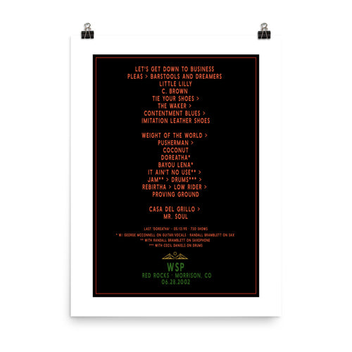 Widespread Panic Red Rocks, 06/28/2002, Setlist Poster