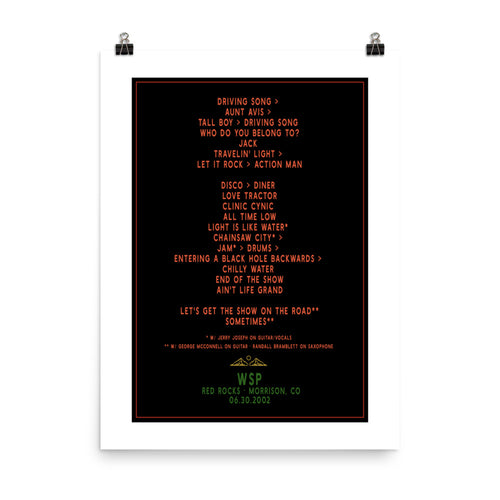 Widespread Panic Red Rocks, 06/30/2002, Setlist Poster