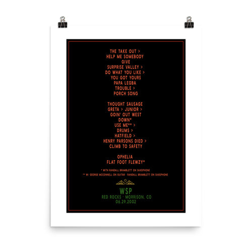 Widespread Panic Red Rocks, 06/29/2002, Setlist Poster