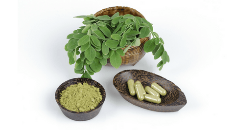 moringa leaves powder and supplements capsules