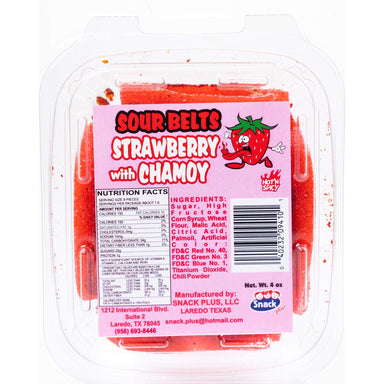 Snack Plus - Sour Belts Strawberry with Chamoy 4 oz - Ole Rico