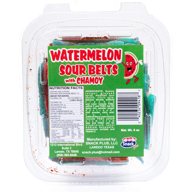 Snack Plus - Watermelon Sour Belts with Chamoy 4 oz - Ole Rico