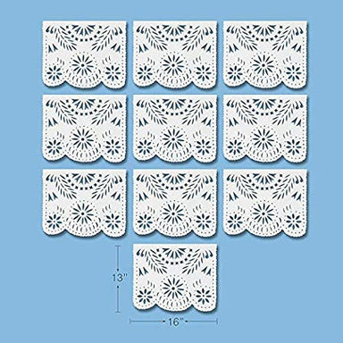 White Papel Picado Mexican Banner Fiesta Decoration - Ole Rico