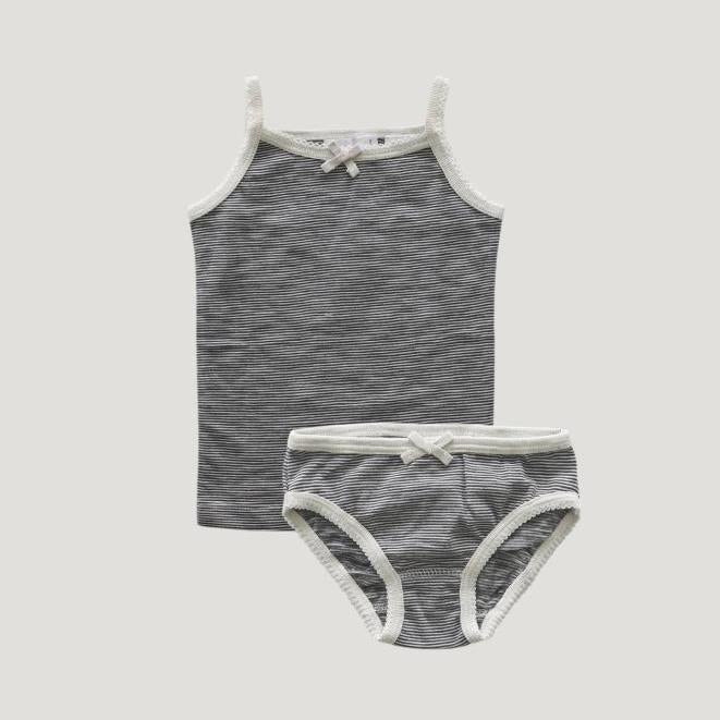 Jamie Kay Stripe Underwear Set - Oatmeal/Navy