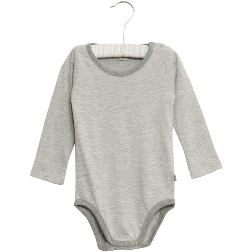 Wheat Bodysuit Long Sleeve - Melange Grey Stripe