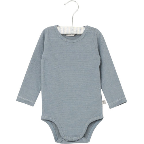 Wheat Bodysuit Long Sleeve - Dusty Blue Stripe