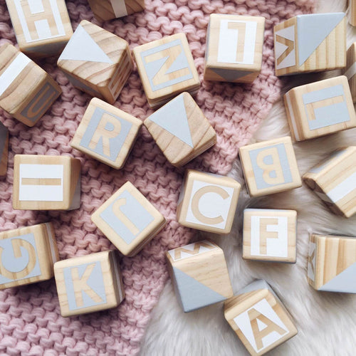 Gold Rabbit & Co Alphabet Blocks - Grey & White
