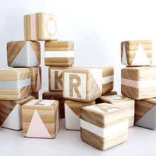 Gold Rabbit & Co Alphabet Blocks - Pink, Grey & White