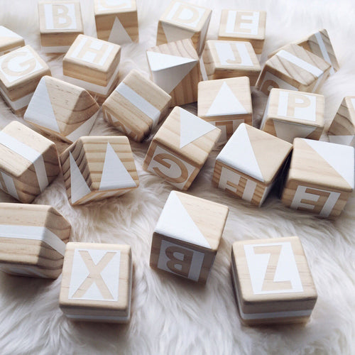 Gold Rabbit & Co Alphabet Blocks - White