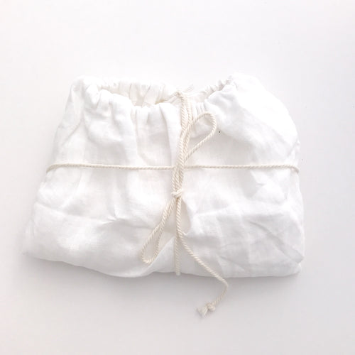 Dove & Dovelet Pure Linen Bassinet Fitted Sheet or Change Mat Cover - White