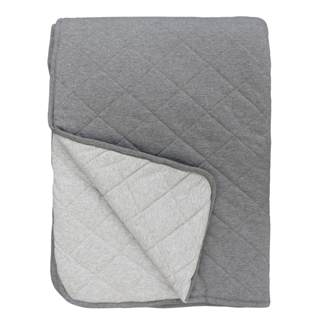 Mister Fly Reversible Cot Quilt - Grey/Charcoal