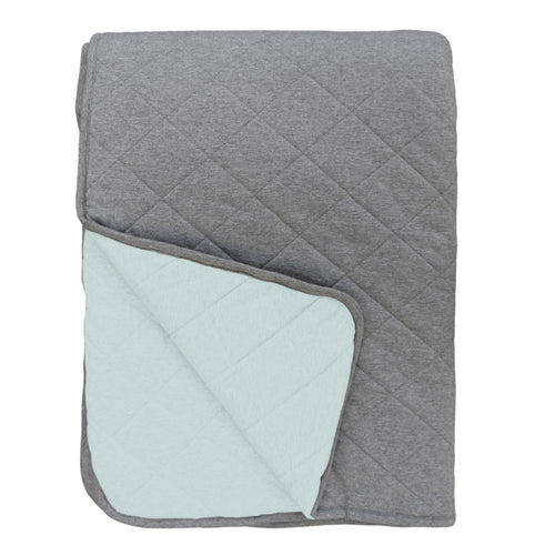 Mister Fly Reversible Cot Quilt - Seafoam/Charcoal