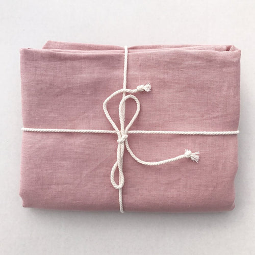 Dove & Dovelet Pure Linen Cot Sheet & Pillowcase - Dusty Pink