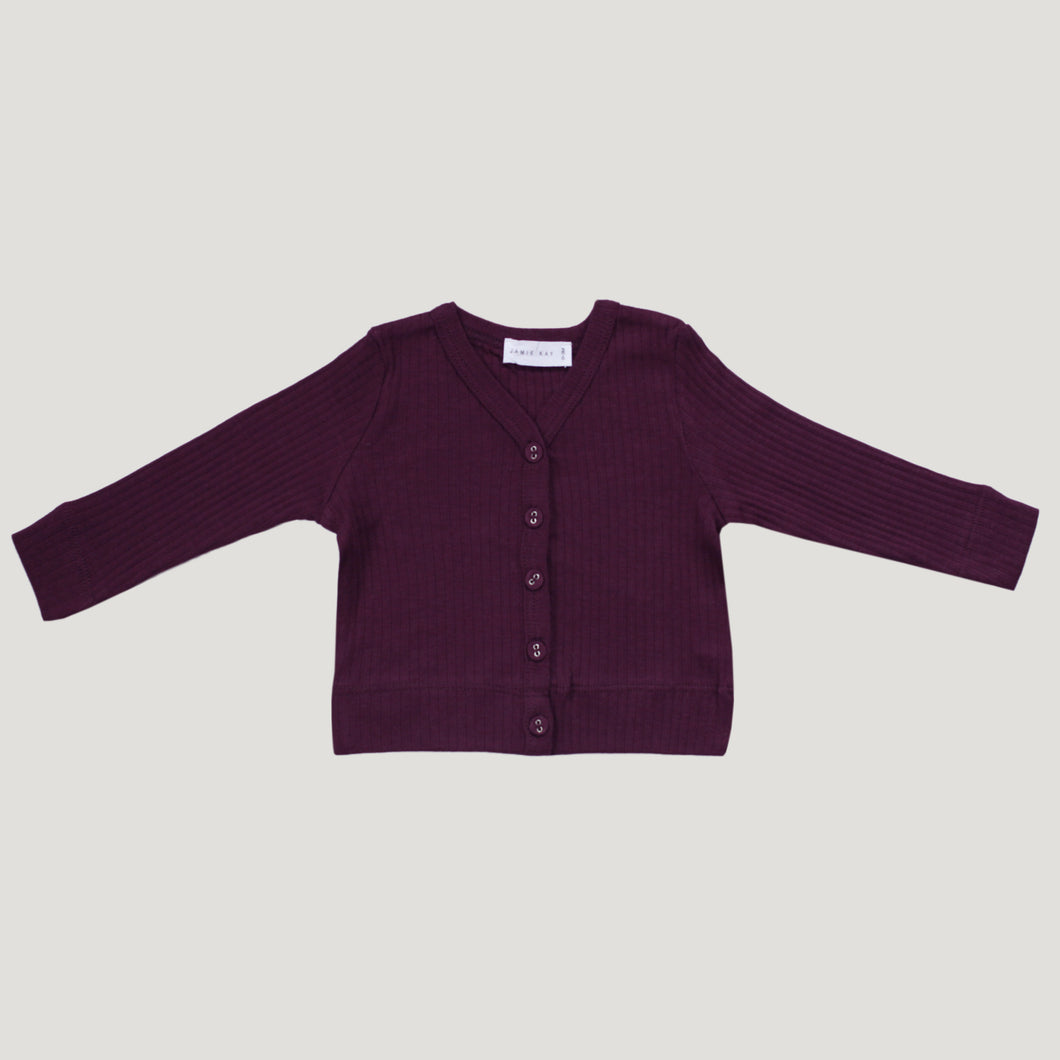 Jamie Kay Cotton Rib Cardigan - Fig