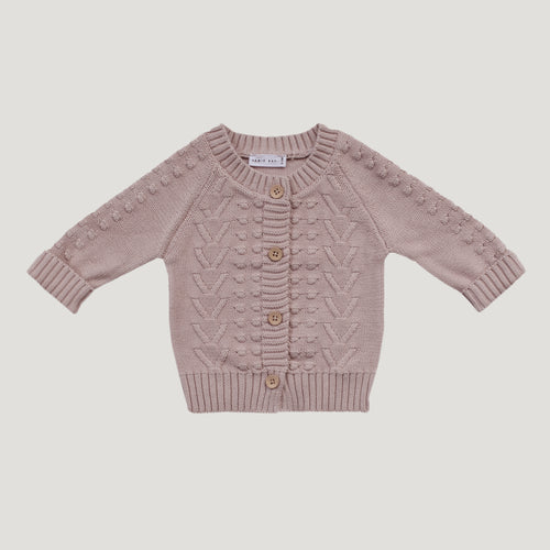Jamie Kay Cable Cardigan - Rose Smoke