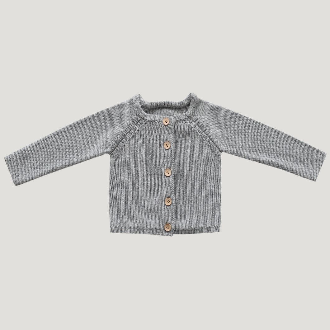 Jamie Kay Simple Cardigan - Lightest Grey Marle