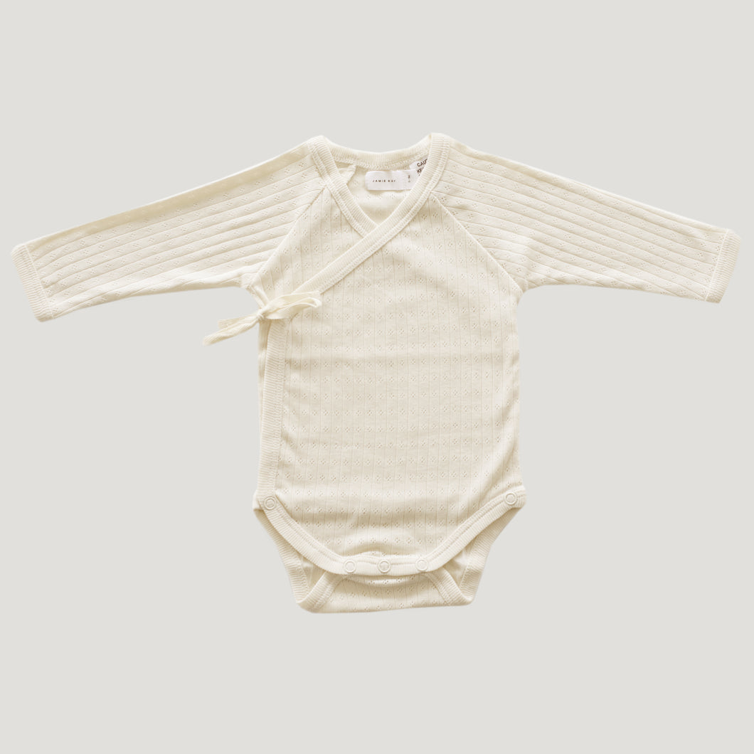 Jamie Kay Pointelle Wrap Bodysuit - Natural